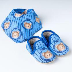 Sapatinho de Bebê com Babador Bandana Urso Realeza Azul