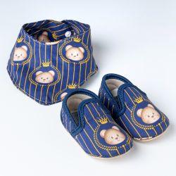 Sapatinho de Bebê com Babador Bandana Urso Realeza Azul Marinho