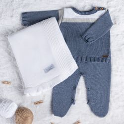 Saída Maternidade Tricot Suéter Listrado Azul Jeans 03 Peças