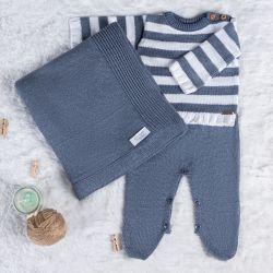 Saída Maternidade Tricot Sueter Neutro Chic Azul e Branco 03 Peças