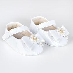 Sapatilha de Bebê Flor de Pérola Verniz Branco