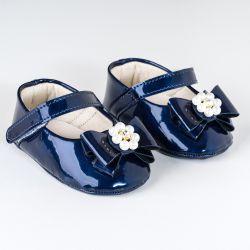 Sapatilha de Bebê Flor de Pérola Verniz Azul Marinho