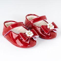 Sapatilha de Bebê Flor de Pérola Verniz Vermelho