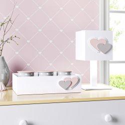 Kit Acessórios Coração Rosa e Cinza