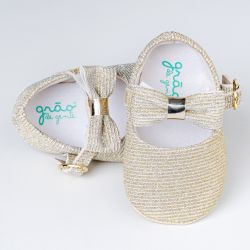 Sapatilha de Bebê Laço Cotelê Glitter Dourado
