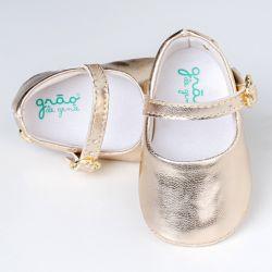 Sapatinho de Bebê Metalizada Dourado
