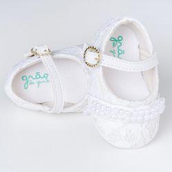 Sapatinho de Bebê Renda e Pérola Branco