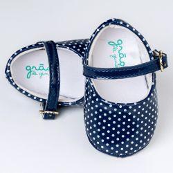 Sapatinho de Bebê Petit Poá Verniz Azul Marinho