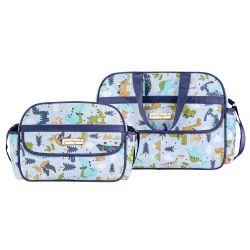 Conjunto de Bolsa e Frasqueira Maternidade Amiguinhos Dino Azul