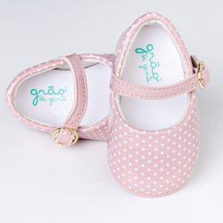 Sapatinho de Bebê Petit Poá Verniz Rosa