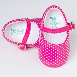 Sapatinho de Bebê Petit Poá Verniz Pink