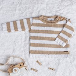 Suéter Tricot Listrado Bege