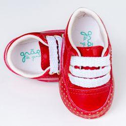 Tênis Bebê Flat Poá Vermelho