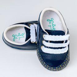 Tênis Bebê Flat Poá Azul Marinho