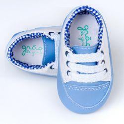 Tênis Bebê Chique Bicolor Azul Jeans e Branco
