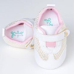 Tênis Bebê Charmosa Branco e Dourado