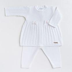 Saída Maternidade Tricot Vestido e Calça Tijolinho e Lacinhos Branco 02 Peças