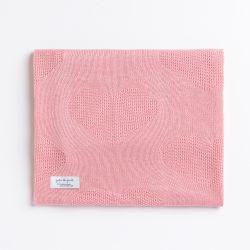 Manta Tricot Coração Rosa 80cm