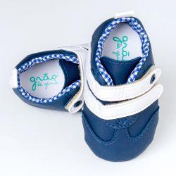 Tênis Bebê George com Velcro Duplo Azul Marinho