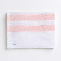 Manta Bebê Tricot Listras Rosa e Branco 80cm