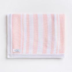 Manta Tricot Listras Branco e Rosa 80cm