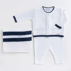 Saída Maternidade Tricot Macacão e Casaquinho Branco e Azul Marinho 03 Peças