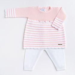 Saída Maternidade Tricot Vestido Listrado com Flores Rosa e Branco 02 Peças