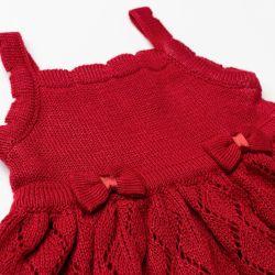 Vestido Tricot Vazado Laços Vermelho