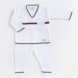 Saída Maternidade Tricot Suéter e Calça Baseball Listras Bege e Azul Marinho 02 Peças