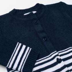 Saída Maternidade Tricot Cardigan e Calça Listras Marinho e Branco 02 Peças