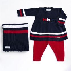 Saída Maternidade Tricot Vestido e Calça Navy Azul Marinho e Vermelho 03 Peças