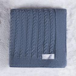 Manta Tricot Trança Azul Jeans 80cm