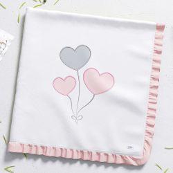 Manta de Algodão Amor Cor de Rosa 80cm