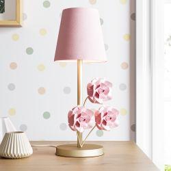 Abajur Provençal com Flores Dourado e Rosa