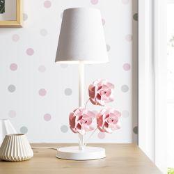 Abajur Provençal com Flores Branco e Rosa