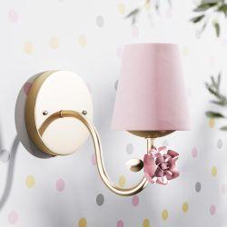 Arandela Provençal com Flor Dourado e Rosa