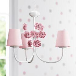 Lustre 3L Provençal com Flores Cor de Rosa