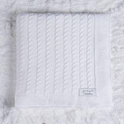Manta Bebê Tricot Trança Branco Chantilly 80cm