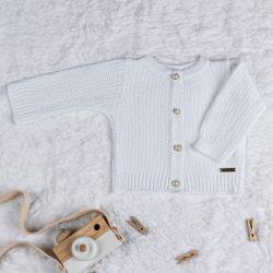 Casaquinho Tricot Clássico Pérola Branco