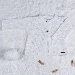 Cardigan Tricot Vazado Branco