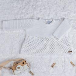Vestido Tricot com Pérolas Branco