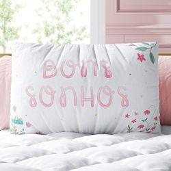 Almofada Retangular Bons Sonhos Floral 39cm
