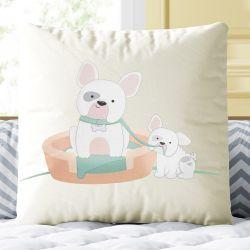 Almofada Quadrada Mamãe e Bebê Cachorrinho