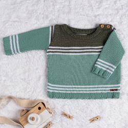 Suéter Tricot Listra Verde e Verde Escuro