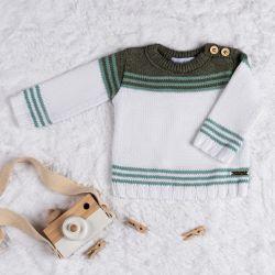 Casaquinho Tricot Listra Branca e Verde