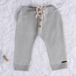 Calça Tricot com Botões Cinza Macaron