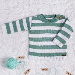 Suéter Tricot Listrado Verde
