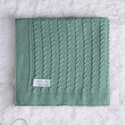 Manta Bebê Tricot Trança Verde 80cm