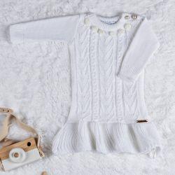 Vestido Tricot Pompom Branco Chantilly