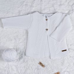 Cardigan Tricot Trança Clássico Branco